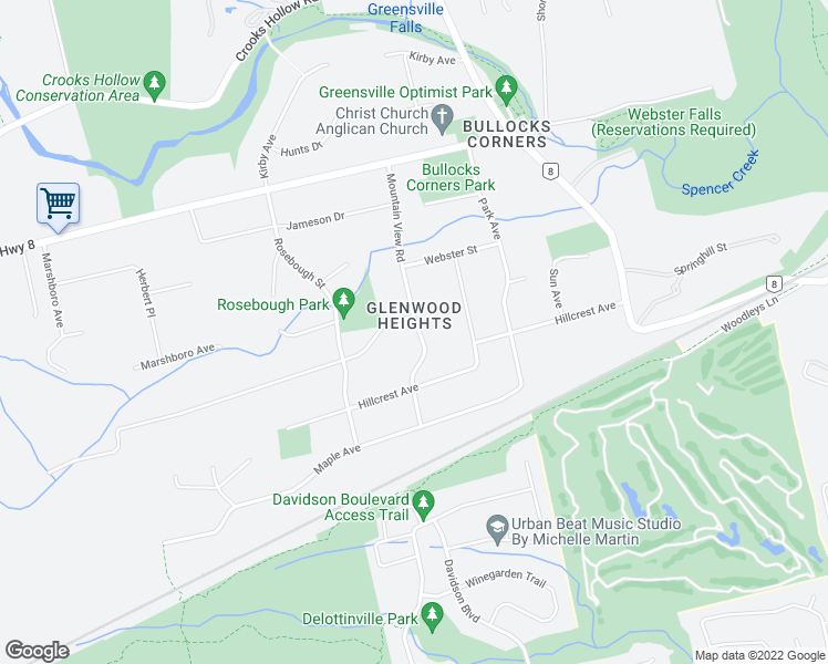 map of restaurants, bars, coffee shops, grocery stores, and more near 8 Oak Avenue in Hamilton