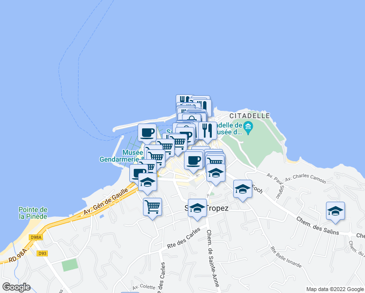 map of restaurants, bars, coffee shops, grocery stores, and more near 22 Quai Jean Jaurès in Saint-Tropez