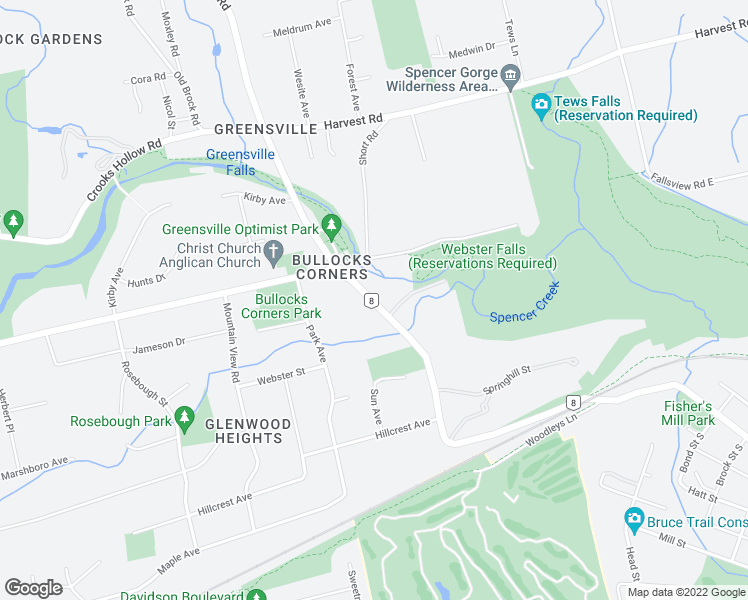 map of restaurants, bars, coffee shops, grocery stores, and more near 66 Highway 8 in Hamilton
