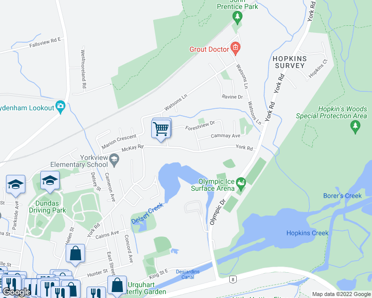 map of restaurants, bars, coffee shops, grocery stores, and more near 231 York Road in Hamilton