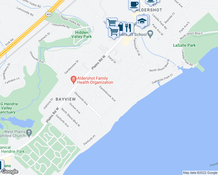 map of restaurants, bars, coffee shops, grocery stores, and more near 258 Hendrie Avenue in Burlington