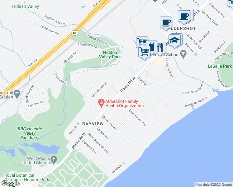 map of restaurants, bars, coffee shops, grocery stores, and more near 259 Plains Road West in Burlington