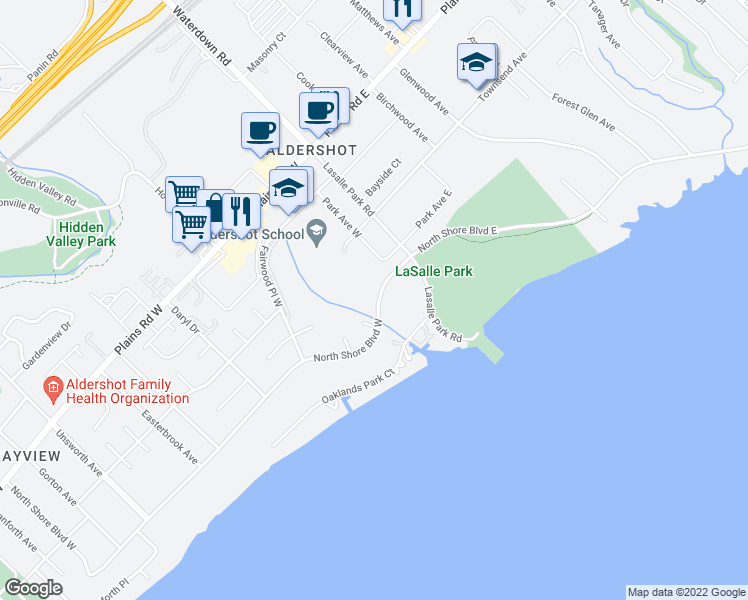 map of restaurants, bars, coffee shops, grocery stores, and more near 47 North Shore Boulevard West in Burlington