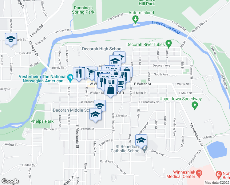 map of restaurants, bars, coffee shops, grocery stores, and more near in Decorah
