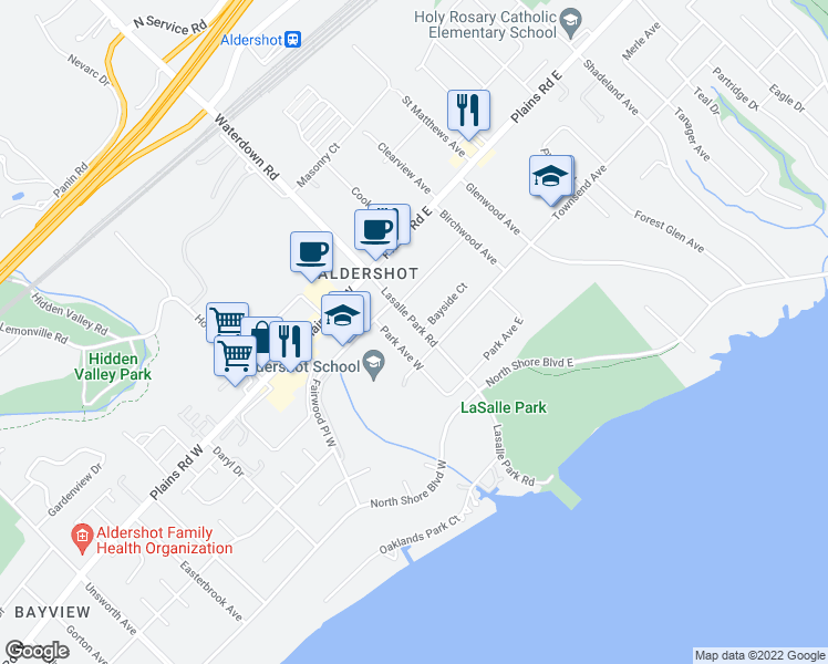 map of restaurants, bars, coffee shops, grocery stores, and more near 938 Lasalle Park Road in Burlington