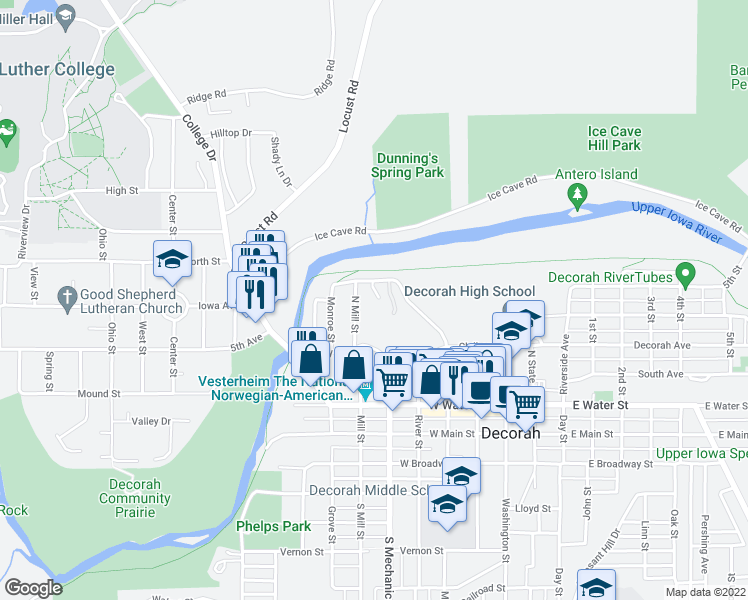 map of restaurants, bars, coffee shops, grocery stores, and more near 509 Goose Island Drive in Decorah