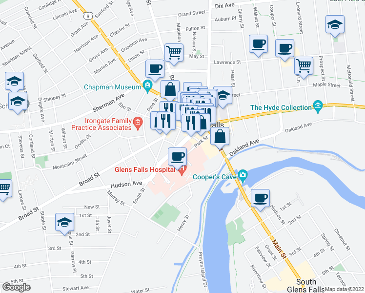 map of restaurants, bars, coffee shops, grocery stores, and more near 14 Hudson Avenue in Glens Falls