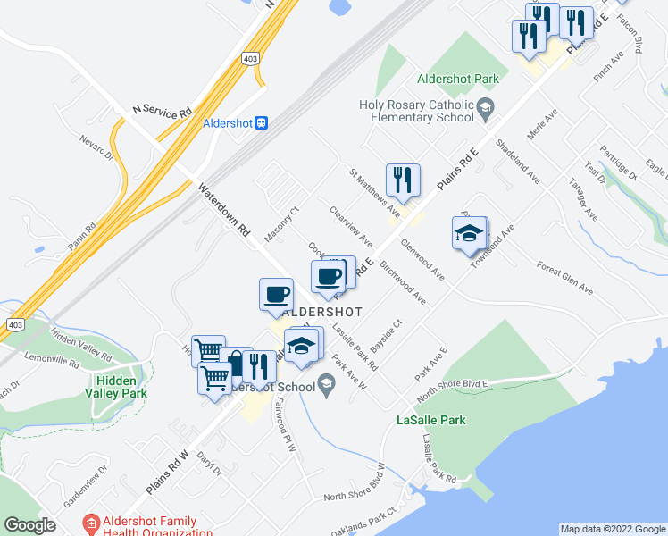 map of restaurants, bars, coffee shops, grocery stores, and more near 1121 Cooke Boulevard in Burlington