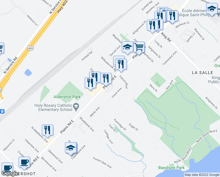 map of restaurants, bars, coffee shops, grocery stores, and more near 362 Plains Road East in Burlington