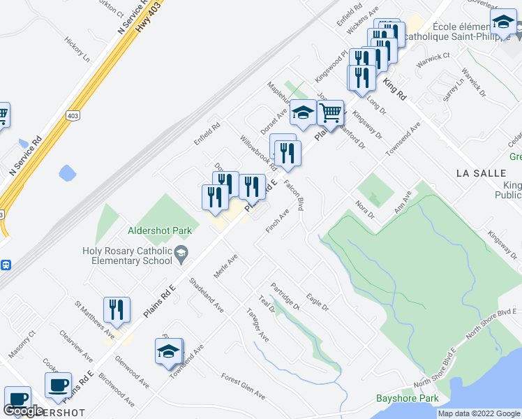 map of restaurants, bars, coffee shops, grocery stores, and more near 360 Plains Road East in Burlington