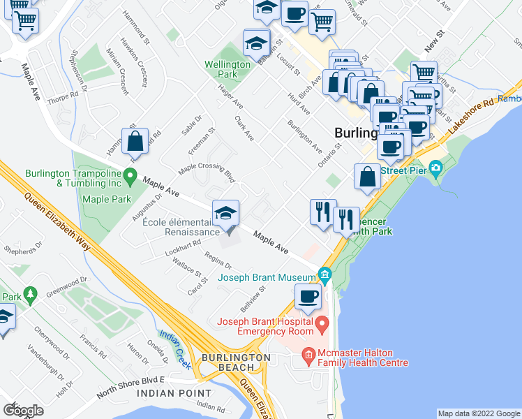 map of restaurants, bars, coffee shops, grocery stores, and more near 1285 Ontario Street in Burlington