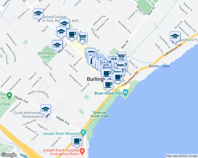 map of restaurants, bars, coffee shops, grocery stores, and more near  in Burlington