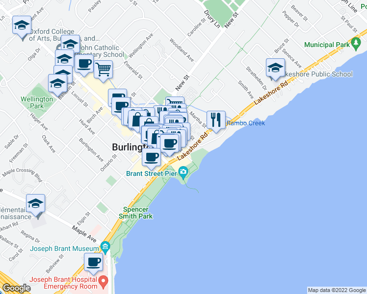 map of restaurants, bars, coffee shops, grocery stores, and more near 399 Elizabeth Street in Burlington