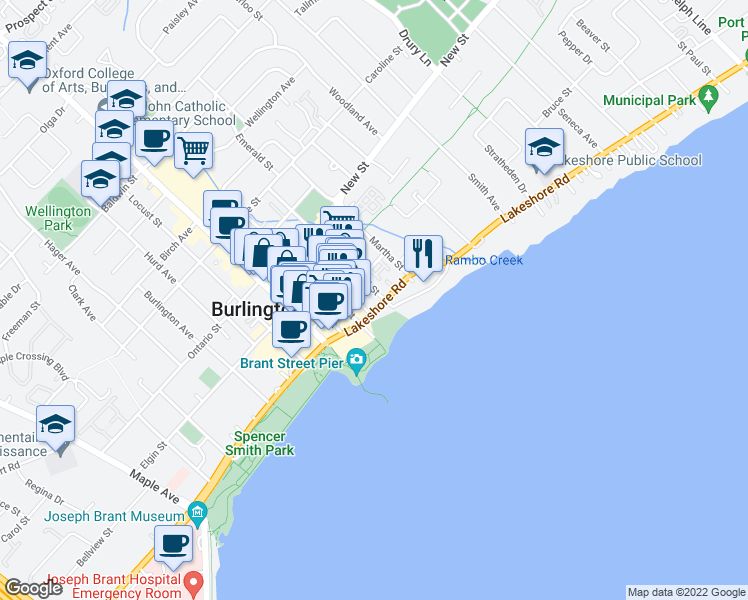 map of restaurants, bars, coffee shops, grocery stores, and more near 360 Pearl Street in Burlington