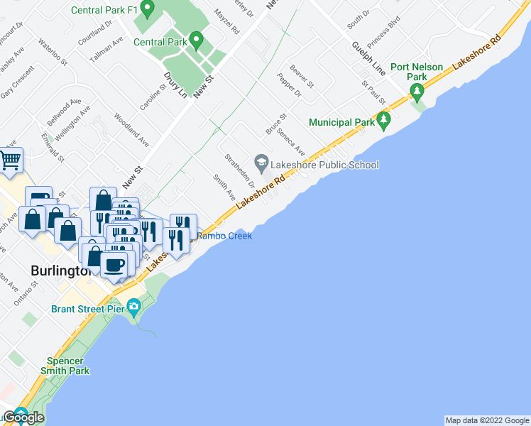 map of restaurants, bars, coffee shops, grocery stores, and more near 2220 Lakeshore Road in Burlington