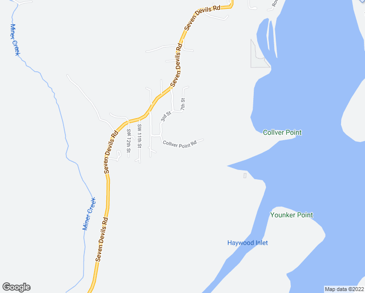 map of restaurants, bars, coffee shops, grocery stores, and more near Collver Point Road in Coos Bay