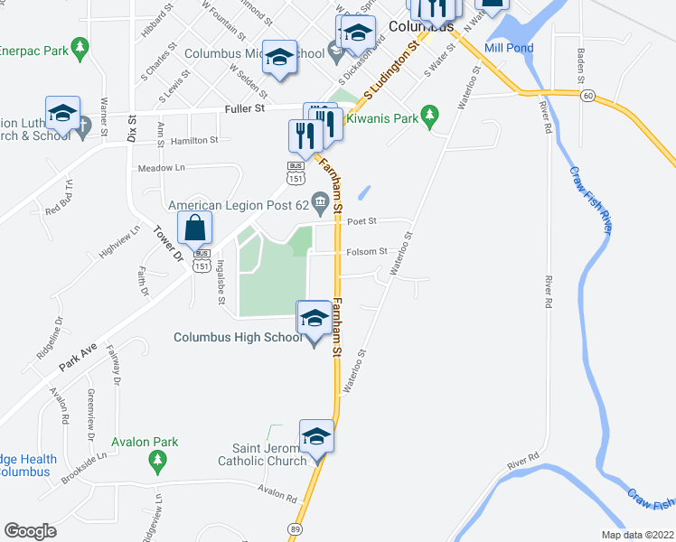 map of restaurants, bars, coffee shops, grocery stores, and more near 975 Farnham Street in Columbus