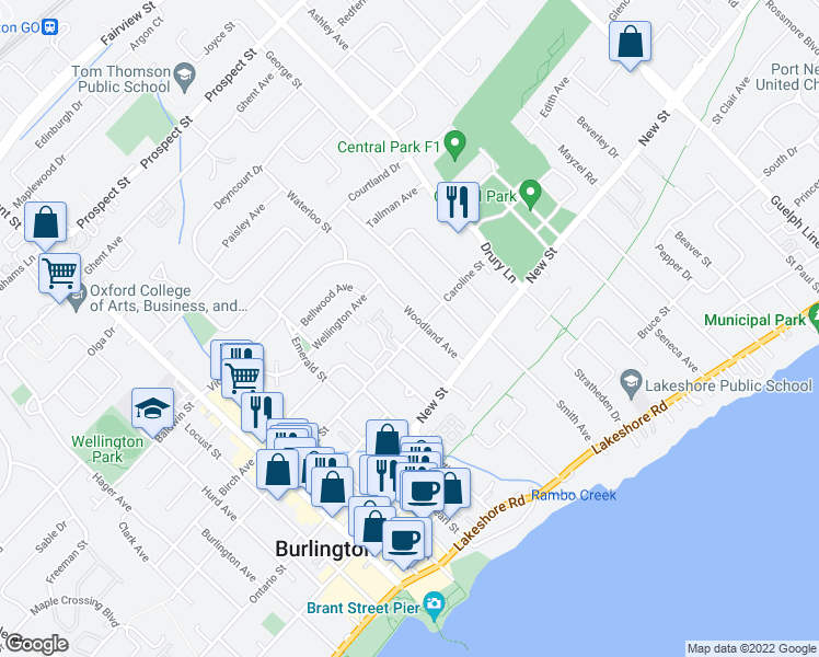 map of restaurants, bars, coffee shops, grocery stores, and more near 2165 Caroline Street in Burlington