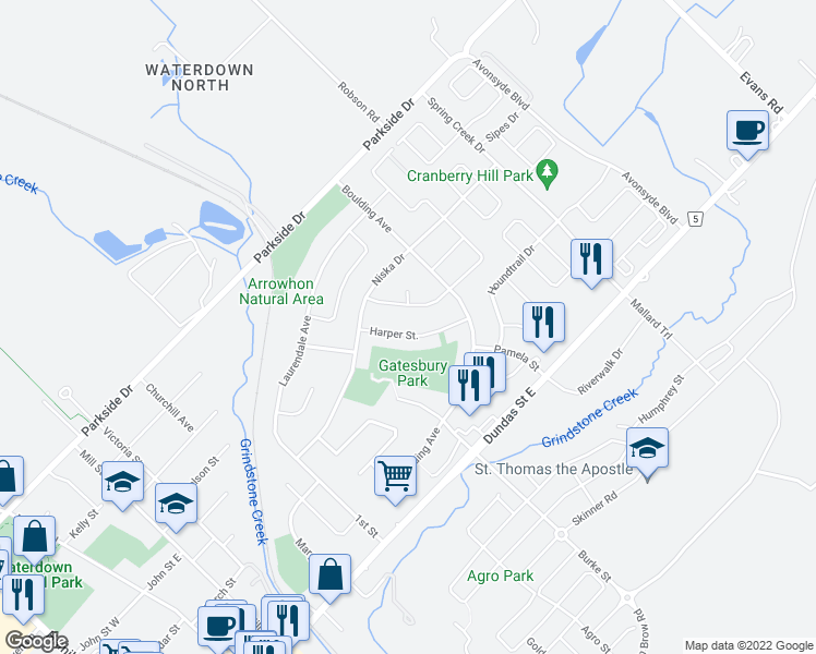 map of restaurants, bars, coffee shops, grocery stores, and more near 23 Harper Street in Hamilton