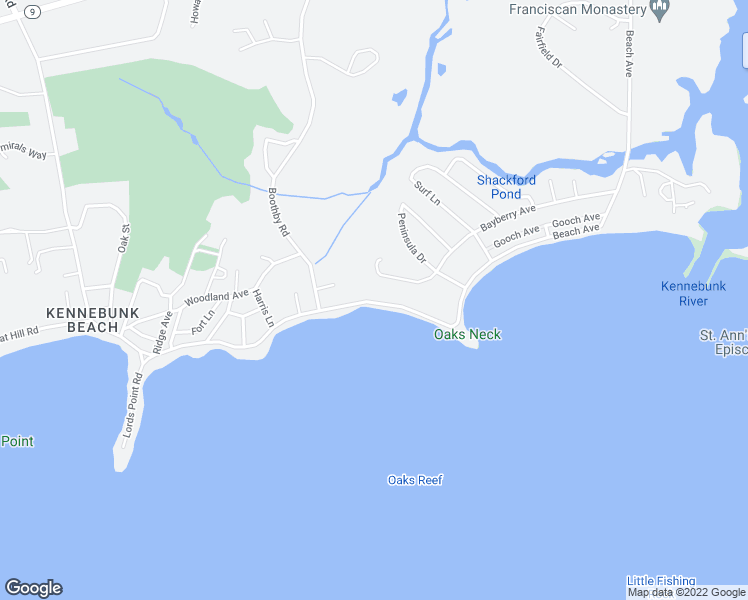 map of restaurants, bars, coffee shops, grocery stores, and more near 175 Beach Avenue in Kennebunk