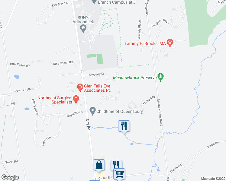 map of restaurants, bars, coffee shops, grocery stores, and more near 44 Willowbrook Road in Queensbury