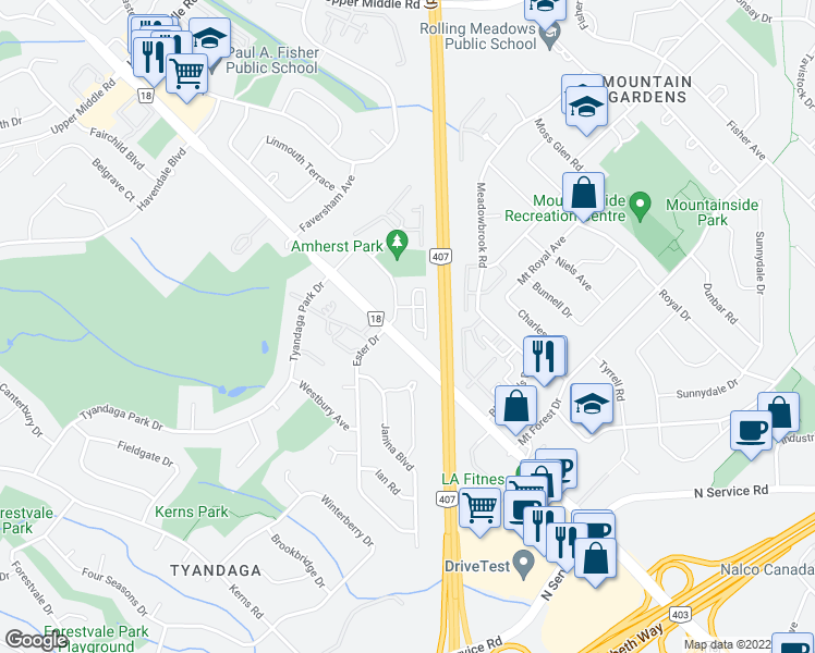 map of restaurants, bars, coffee shops, grocery stores, and more near 2085 Amherst Heights Drive in Burlington