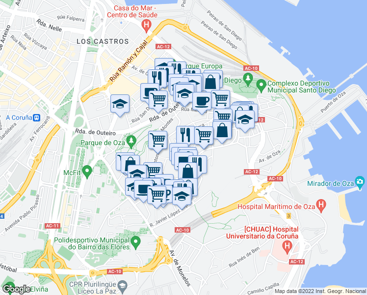 map of restaurants, bars, coffee shops, grocery stores, and more near 1 Rúa Castaño de Eirís in A Coruña