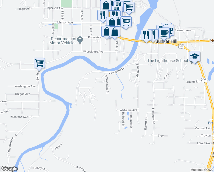 map of restaurants, bars, coffee shops, grocery stores, and more near 1747 South Broadway Street in Coos Bay