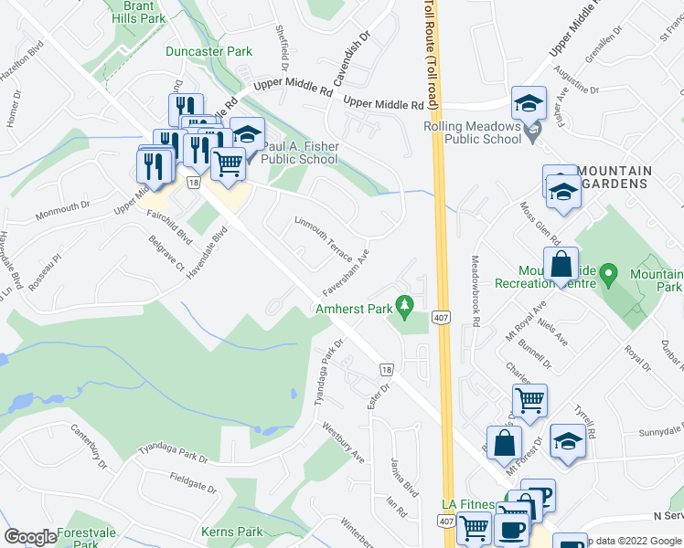 map of restaurants, bars, coffee shops, grocery stores, and more near 2015 Faversham Avenue in Burlington
