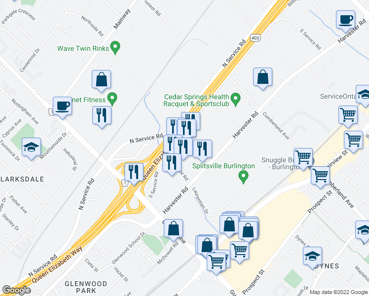 map of restaurants, bars, coffee shops, grocery stores, and more near 3120 South Service Road in Burlington