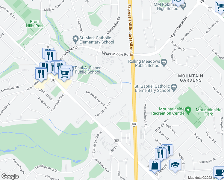 map of restaurants, bars, coffee shops, grocery stores, and more near 2077 Weybridge Court in Burlington