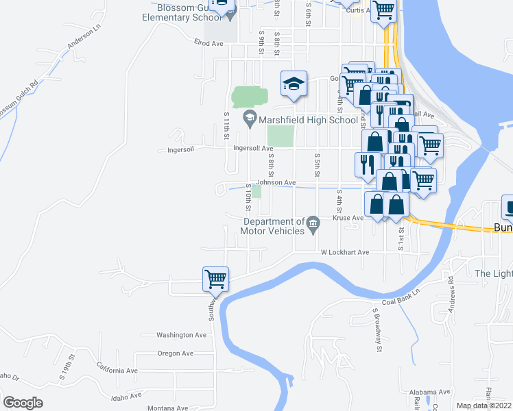 map of restaurants, bars, coffee shops, grocery stores, and more near 1058 South 10th Street in Coos Bay
