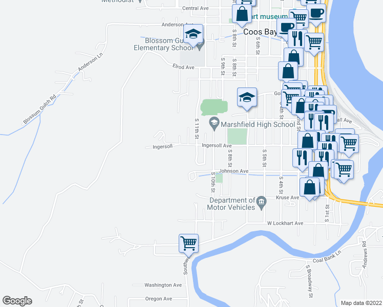 map of restaurants, bars, coffee shops, grocery stores, and more near 935 South 11th Street in Coos Bay
