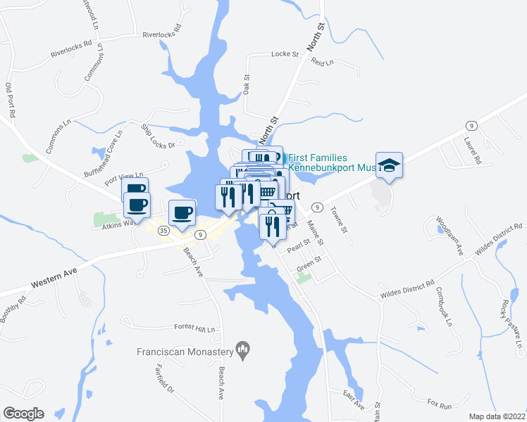 map of restaurants, bars, coffee shops, grocery stores, and more near 37 Ocean Avenue in Kennebunkport