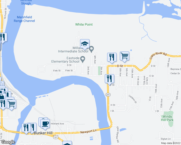 map of restaurants, bars, coffee shops, grocery stores, and more near 470 3rd Court in Coos Bay
