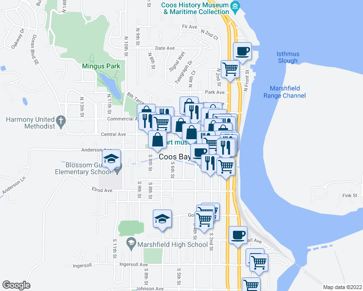 map of restaurants, bars, coffee shops, grocery stores, and more near 525 Anderson Avenue in Coos Bay