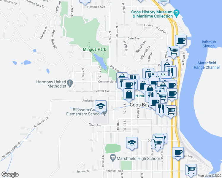 map of restaurants, bars, coffee shops, grocery stores, and more near 964 Empire-Coos Bay Highway in Coos Bay