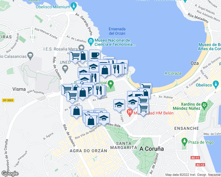 map of restaurants, bars, coffee shops, grocery stores, and more near S/N Rúa Manuel Murguía in A Coruña