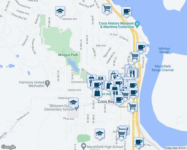 map of restaurants, bars, coffee shops, grocery stores, and more near 306 North 8th Street in Coos Bay