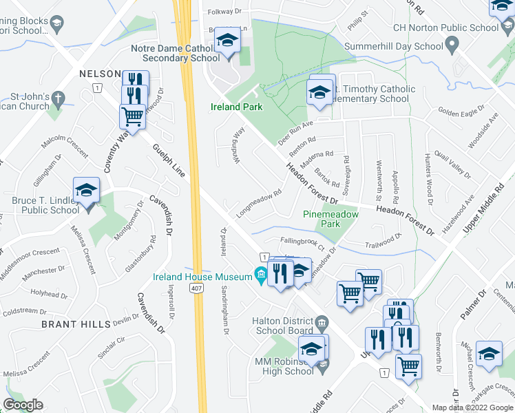 map of restaurants, bars, coffee shops, grocery stores, and more near 2139 Deerwood Drive in Burlington