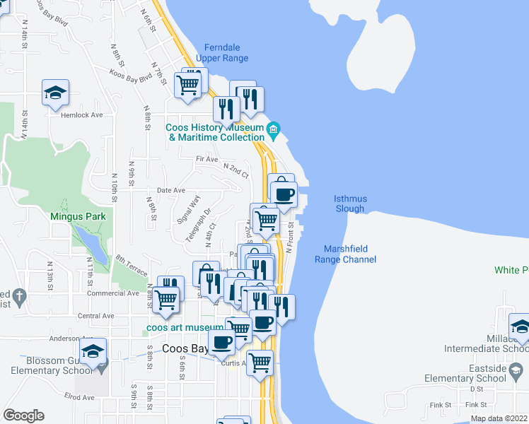 map of restaurants, bars, coffee shops, grocery stores, and more near 600 Oregon Coast Highway in Coos Bay