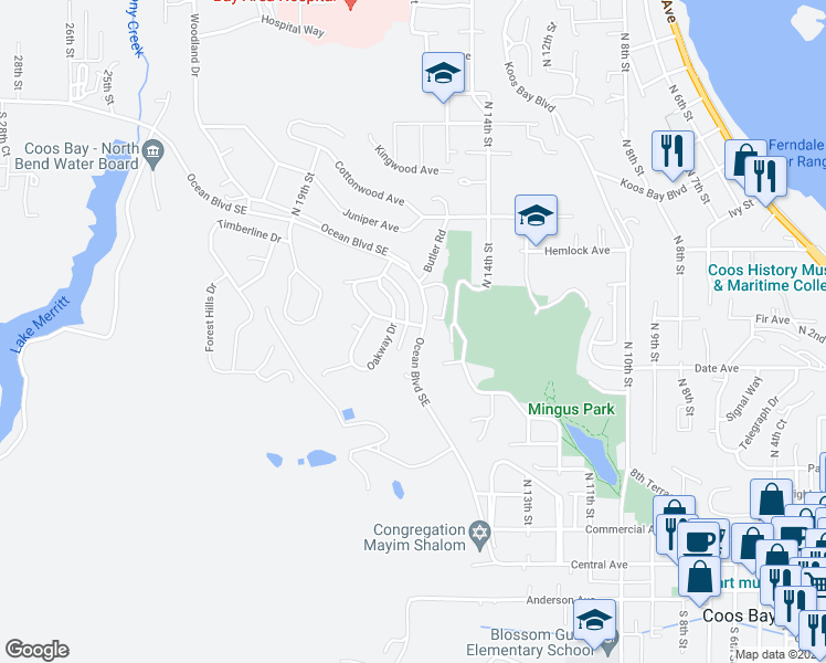 map of restaurants, bars, coffee shops, grocery stores, and more near 1075 Ocean Boulevard Southeast in Coos Bay
