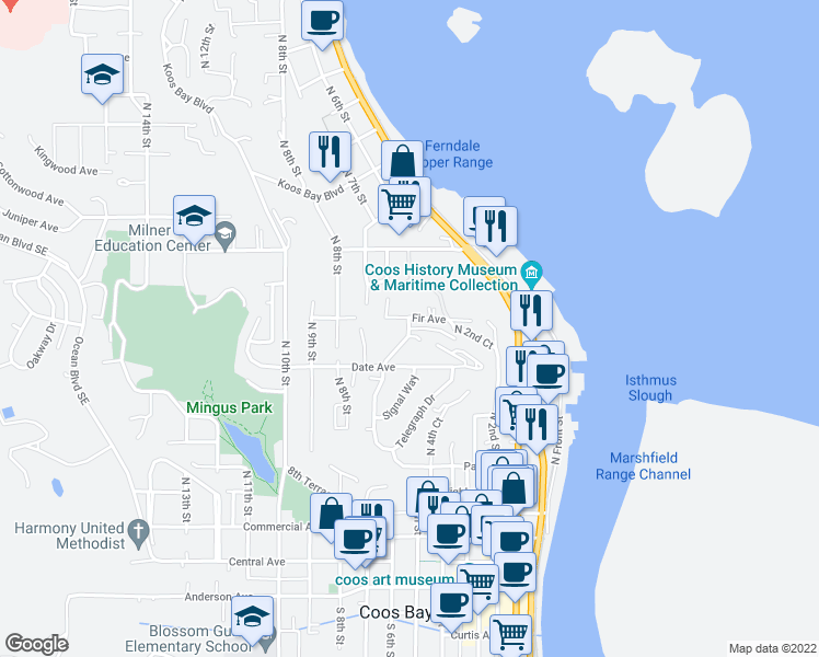 map of restaurants, bars, coffee shops, grocery stores, and more near 7th Road in Coos Bay