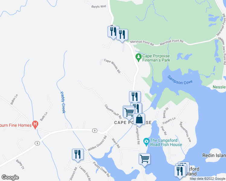 map of restaurants, bars, coffee shops, grocery stores, and more near 18 Back Harbor Road in Kennebunkport