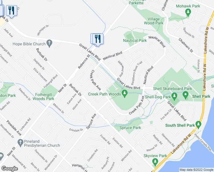 map of restaurants, bars, coffee shops, grocery stores, and more near 233 Duskywing Way in Oakville