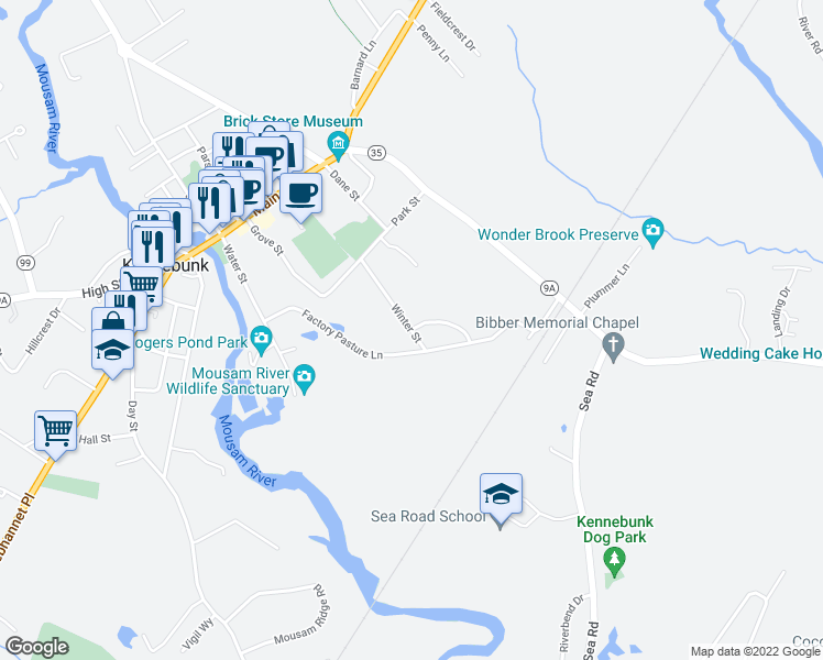 map of restaurants, bars, coffee shops, grocery stores, and more near 2 Haleys Woods Lane in Kennebunk