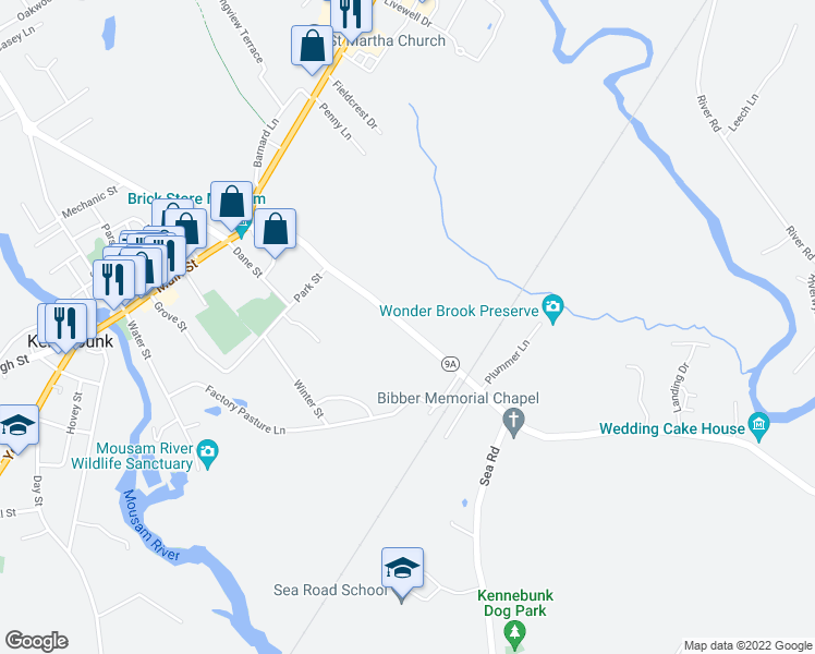 map of restaurants, bars, coffee shops, grocery stores, and more near 37 Summer Street in Kennebunk