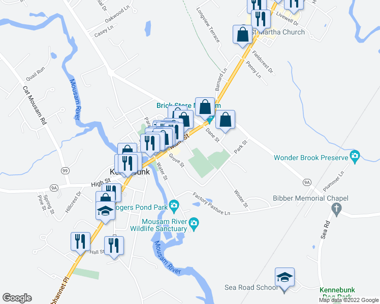 map of restaurants, bars, coffee shops, grocery stores, and more near 5 Nasons Court in Kennebunk