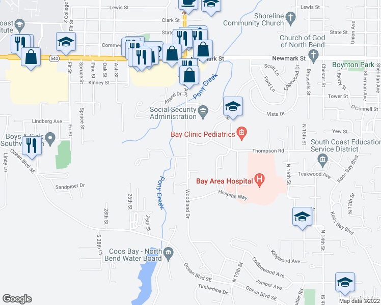 map of restaurants, bars, coffee shops, grocery stores, and more near 2550 Woodland Drive in Coos Bay