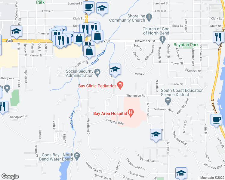 map of restaurants, bars, coffee shops, grocery stores, and more near 3766 Pacific Street in North Bend